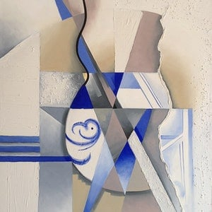 (CreativeWork) Blue Cubist Design by Roxanne Raschella. oil-painting. Shop online at Bluethumb.
