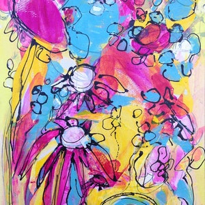 (CreativeWork) Spring Flowers by Wendy Eriksson. mixed-media. Shop online at Bluethumb.