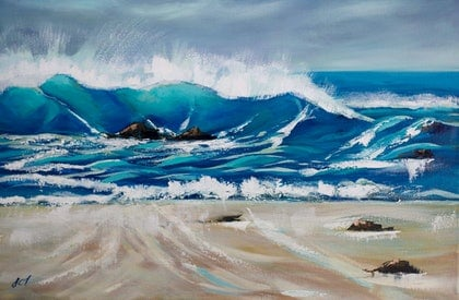 (CreativeWork) Breaking Wave by John Taylor. arcylic-painting. Shop online at Bluethumb.