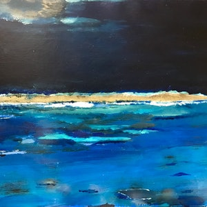 (CreativeWork) Midnight blue by Michael Cougan. mixed-media. Shop online at Bluethumb.