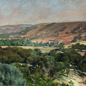 (CreativeWork) Werribee Gorge No4 by Peter Roccella. oil-painting. Shop online at Bluethumb.