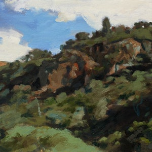 (CreativeWork) Werribee Gorge No10 by Peter Roccella. oil-painting. Shop online at Bluethumb.