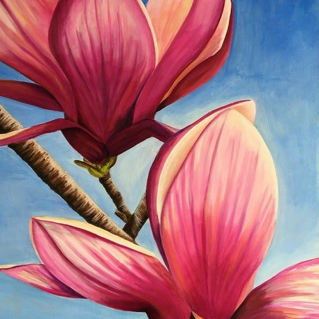 (CreativeWork) Magnificent Magnolia by Sally Delorenzo. Acrylic Paint. Shop online at Bluethumb.