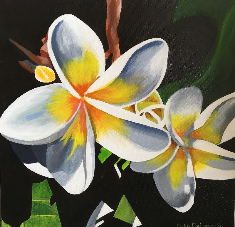 (CreativeWork) Tranquil Frangipani by Sally Delorenzo. arcylic-painting. Shop online at Bluethumb.