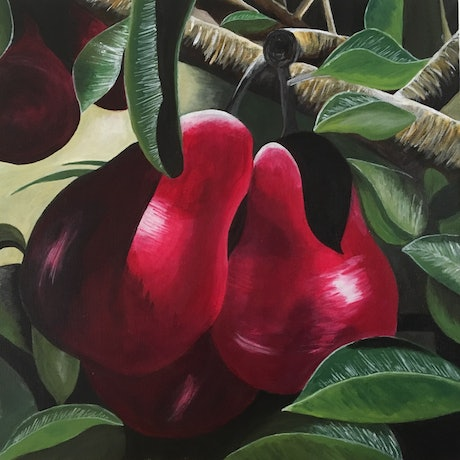(CreativeWork) Scarlet Pears by Sally Delorenzo. Acrylic. Shop online at Bluethumb.