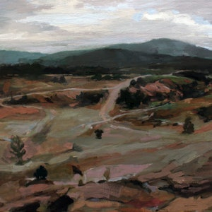 (CreativeWork) You Yangs Mountain Bike Track by Peter Roccella. oil-painting. Shop online at Bluethumb.