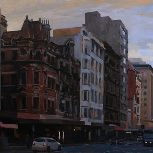 (CreativeWork) Elizabeth Street No1 by Peter Roccella. oil-painting. Shop online at Bluethumb.
