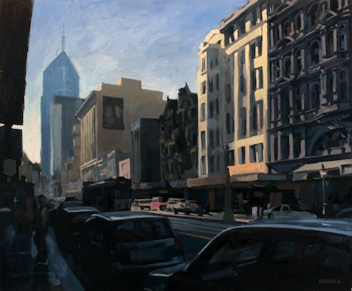 (CreativeWork) Elizabeth Street No2 by Peter Roccella. Oil Paint. Shop online at Bluethumb.