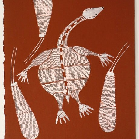 (CreativeWork) Ngalmangiyi (Long-Necked Turtle), 10856-11 by Don Namundja. Acrylic Paint. Shop online at Bluethumb.