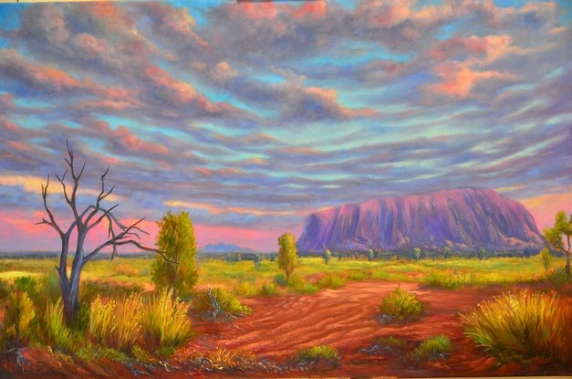 (CreativeWork) The Red Centre - Ayer's Rock (Uluru) by Christopher Vidal. Oil Paint. Shop online at Bluethumb.