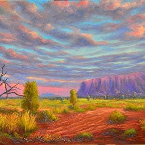 (CreativeWork) The Red Centre - Ayer's Rock (Uluru) by Christopher Vidal. oil-painting. Shop online at Bluethumb.