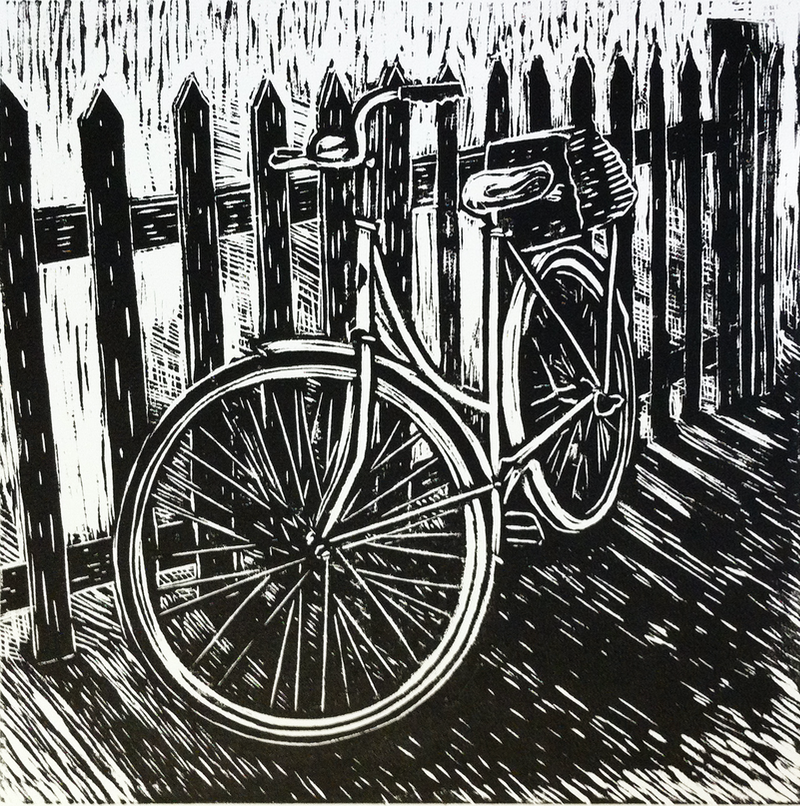 (CreativeWork) Bike against fence by Matthew Broughton. print. Shop online at Bluethumb.