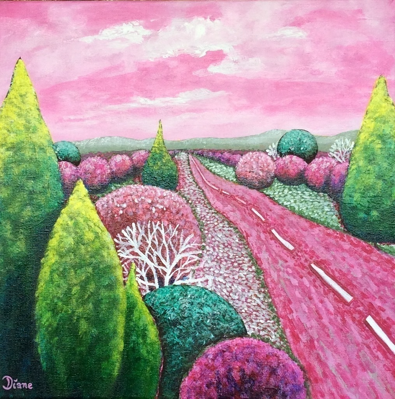 (CreativeWork) Pink skies by Diane McDonald. arcylic-painting. Shop online at Bluethumb.