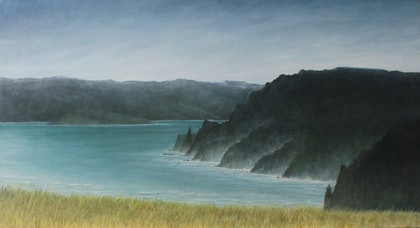(CreativeWork) Requiescere-Calm Waters, Tasman Peninsula.  by Julie-anne Armstrong-Roper. oil-painting. Shop online at Bluethumb.