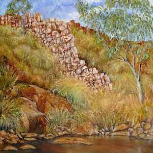 (CreativeWork) China Wall in Western Australia by Elizabeth Bateson. oil-painting. Shop online at Bluethumb.