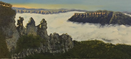 (CreativeWork) Misty Sunrise over The Three Sisters/Blue Mountains Landscape  by Kit McNeill. oil-painting. Shop online at Bluethumb.
