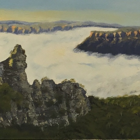 (CreativeWork) Australian Landscape Misty Sunrise over The Three Sisters/Blue Mountains Landscape  by Kit McNeill. Oil Paint. Shop online at Bluethumb.