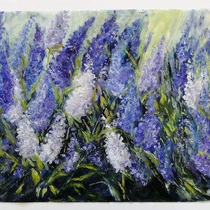 (CreativeWork) Flowers in a gentle breze by Elizabeth Bateson. oil-painting. Shop online at Bluethumb.