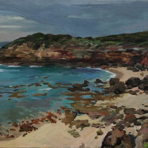 (CreativeWork) Portsea Coast by Peter Roccella. oil-painting. Shop online at Bluethumb.