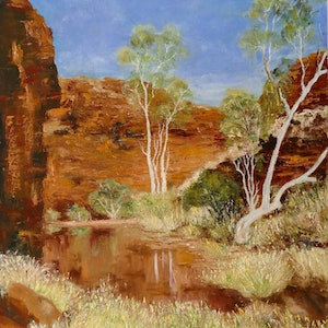 (CreativeWork) Pilbara in Western Australia by Elizabeth Bateson. oil-painting. Shop online at Bluethumb.