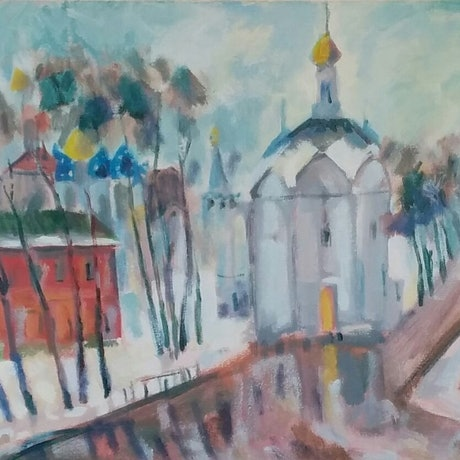 (CreativeWork) Russia in winter by Gennady Veremeenko. Acrylic Paint. Shop online at Bluethumb.