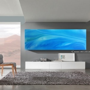 (CreativeWork) Ocean Soft - 183 x 60cm Blue Teal White Acrylic Abstract Ocean by Desley Wilson. #<Filter:0x000056096fa77a78>. Shop online at Bluethumb.