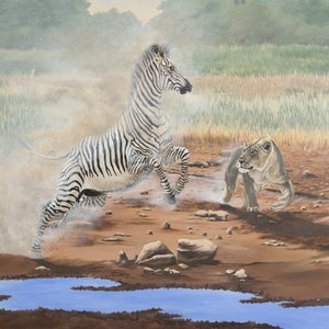 (CreativeWork) The Chase (Grevy's Zebra) by Dario Zanesco. arcylic-painting. Shop online at Bluethumb.