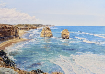 (CreativeWork) Pt Campbell Nat Park, view east from The 12 Apostles by Francis McMahon. watercolour. Shop online at Bluethumb.