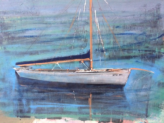 (CreativeWork) My Couta Boat  by David Benson. Acrylic Paint. Shop online at Bluethumb.