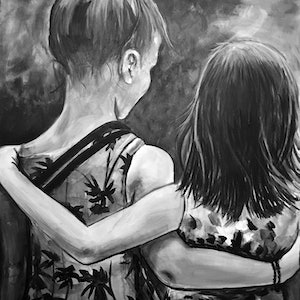(CreativeWork) Sister  by Emma Ward. arcylic-painting. Shop online at Bluethumb.