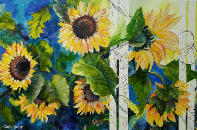 (CreativeWork) Sunflowers & Stripes by Cathy Gilday. Mixed Media. Shop online at Bluethumb.