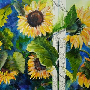 (CreativeWork) Sunflowers & Stripes by Cathy Gilday. mixed-media. Shop online at Bluethumb.