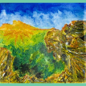 (CreativeWork) my mountain by Adrian Crawford. oil-painting. Shop online at Bluethumb.