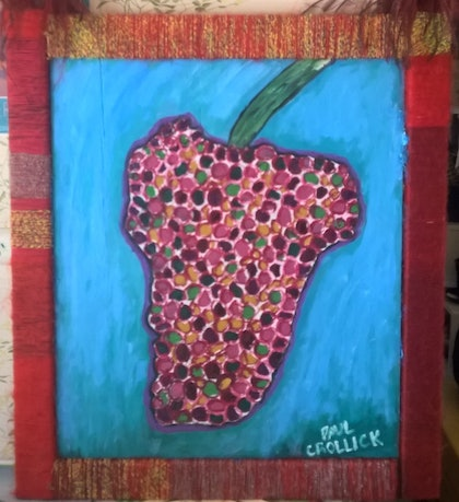 (CreativeWork) Divine Fruit by Paul Crollick. oil-painting. Shop online at Bluethumb.