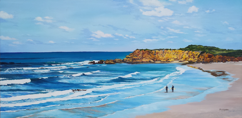 (CreativeWork) Surfers at Torquay by M.A. Hobbs. oil-painting. Shop online at Bluethumb.