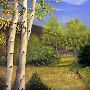 (CreativeWork) AUTUMN Birchs by Jing Tian. arcylic-painting. Shop online at Bluethumb.