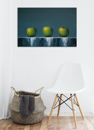(CreativeWork) Three of a kind - Still life with apples by Damien Venditti. Oil Paint. Shop online at Bluethumb.