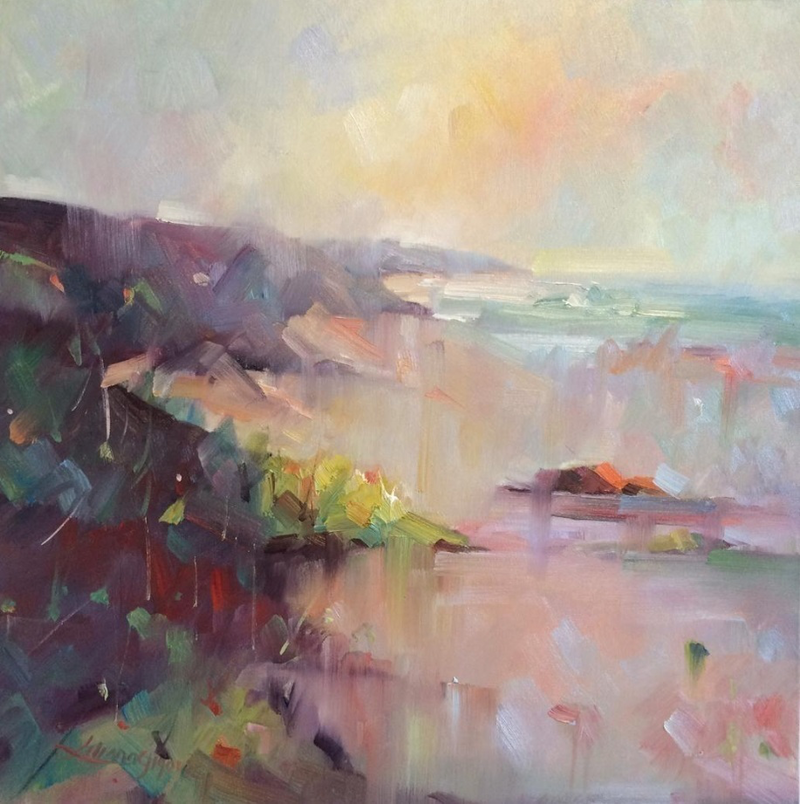 (CreativeWork) Sorrento Back beach #2 by Liliana Gigovic. oil-painting. Shop online at Bluethumb.