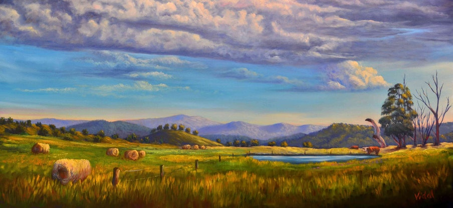 (CreativeWork) Towards the Great Alpine Road, VIC by Christopher Vidal. Oil Paint. Shop online at Bluethumb.