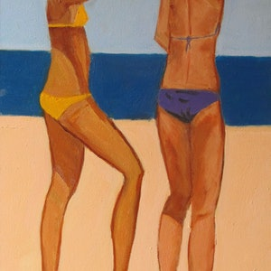 (CreativeWork) Bathers by Joan Tallent. oil-painting. Shop online at Bluethumb.