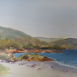 (CreativeWork) Bicheno Beach Front by Leianne ivankovic. watercolour. Shop online at Bluethumb.