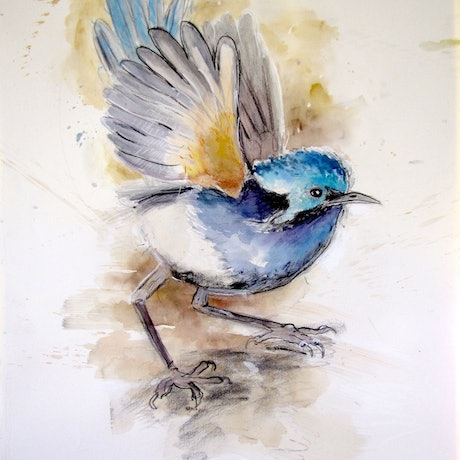 (CreativeWork) Fire Wren by Jet James. Mixed Media. Shop online at Bluethumb.