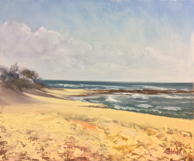 (CreativeWork) Moffatt  Beach North Plein Air oil painting  by Chris Hobel. oil-painting. Shop online at Bluethumb.
