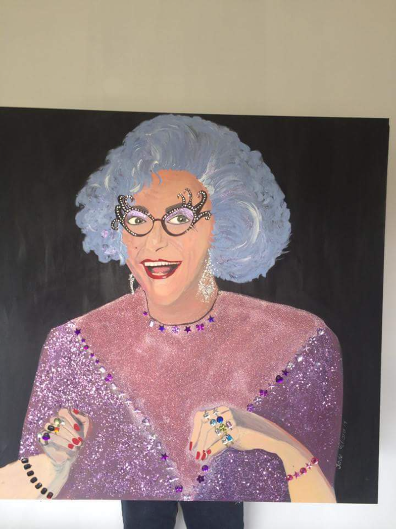 (CreativeWork) Dame Edna Everidge -Hello Possums by Jade Millard. arcylic-painting. Shop online at Bluethumb.