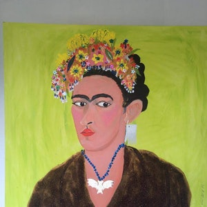 (CreativeWork) Frida Kahlo - my way by Jade Millard. arcylic-painting. Shop online at Bluethumb.