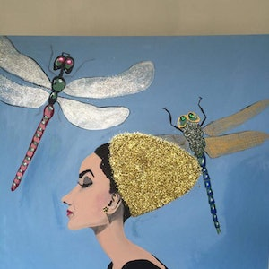 (CreativeWork) Audrey Hepburn with dragonflies by Jade Millard. arcylic-painting. Shop online at Bluethumb.