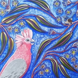 (CreativeWork) Tree Top Chit Chat by Desley Wilson. arcylic-painting. Shop online at Bluethumb.