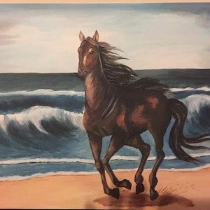 (CreativeWork) Running horse on beach by kushpinder kaur. arcylic-painting. Shop online at Bluethumb.