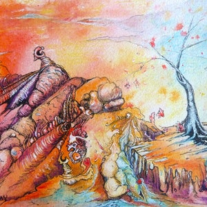 (CreativeWork) Scorched Terrain by Cathy Gilday. mixed-media. Shop online at Bluethumb.