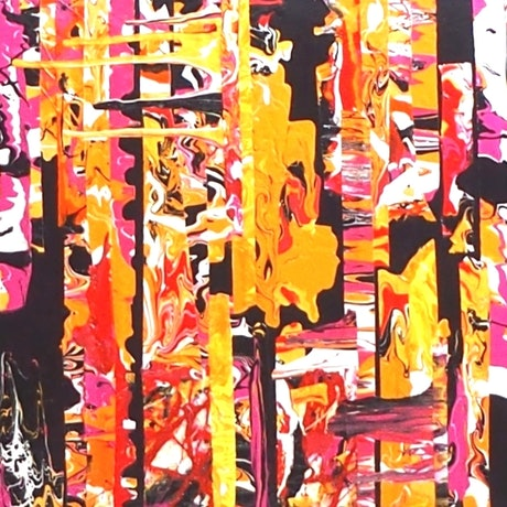 (CreativeWork) Sunset. Vibrant pink and orange contemporary abstract by Julee Latimer. Acrylic Paint. Shop online at Bluethumb.